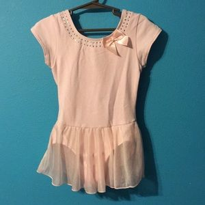 Girls pink dance leotard with attached skirt